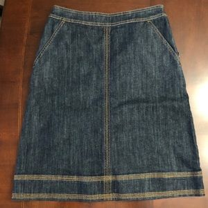 New Anthropologie Boden a line denim indigo skirt